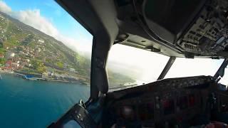 CRAZY! Inside Cockpit Crosswind Landing at Madeira Cristiano Ronaldo Airport HD