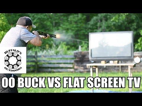 00 Buckshot vs Flat Screen TV - will it go through?