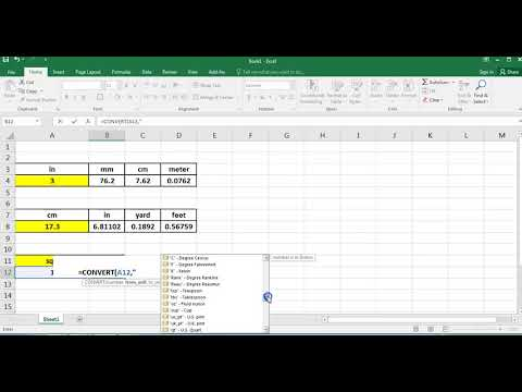 Unit Conversions In Excel