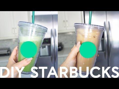 DIY Starbucks Drinks Hack - My Healthy Iced Green Tea Latte & Iced Coffee!