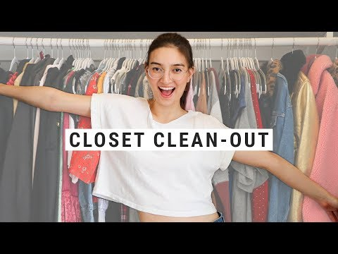 CLOSET CLEAN-OUT 2018!!  Declutter My Wardrobe With Me!