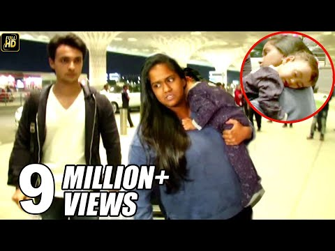 Salman Khan's Sister Arpita With Husband & CUTE Baby Ahil Spotted At Mumbai Airport