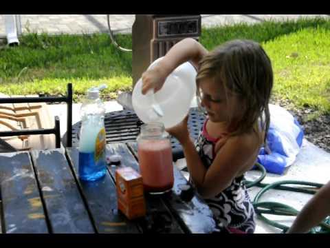 Making homemade volcanos