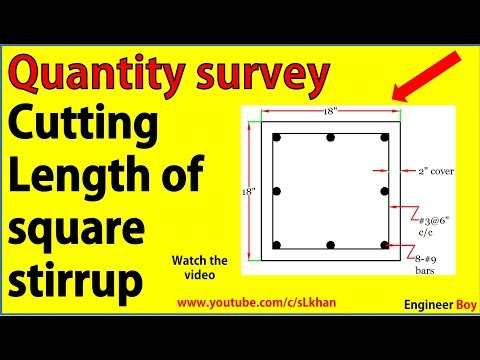 how to calculate cutting length of square stirrup?