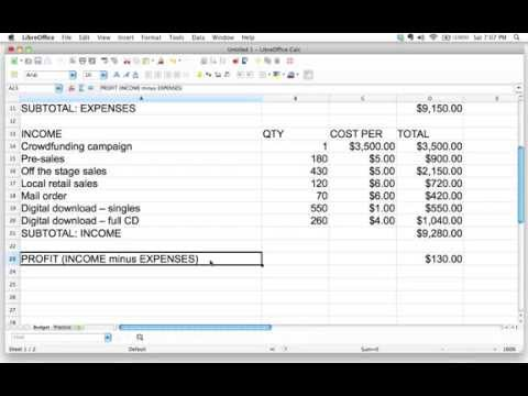 Using a spreadsheet to adjust a budget and find the break-even point