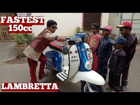 Old Model Lambretta Scooter Kick Start By Nine Year Old Boy-Fastest Old 150 Lambretta Scooter India