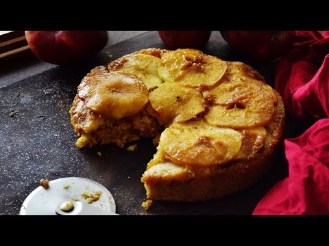 Upside Down Cake - Apple Upside down cake recipe - Eggless Whole Wheat Apple Cake recipe