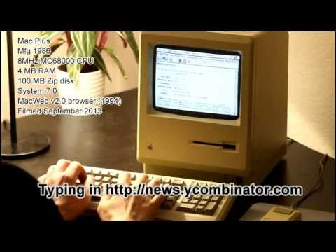 Mac Plus surfing the web