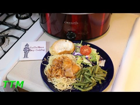 2 Ingredient Crock Pot Chicken Spaghetti~Boneless Skinless Chicken Thighs