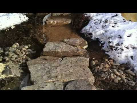 Installing large stone landscape steps Part 2 Landscape construction