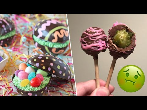 Brownie Filled Chocolate Eggs Review + Cake Pops Prank!- Buzzfeed Test #116