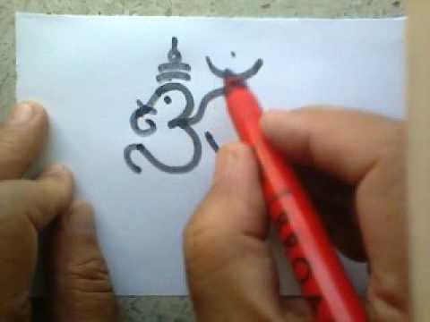 Drawing and combining the sign of Om with visual symbol of Lord ganesha
