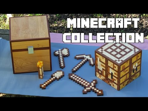 Minecraft (Chest; Crafting Table)  - 7 Items - Toys Collection Made of Wood