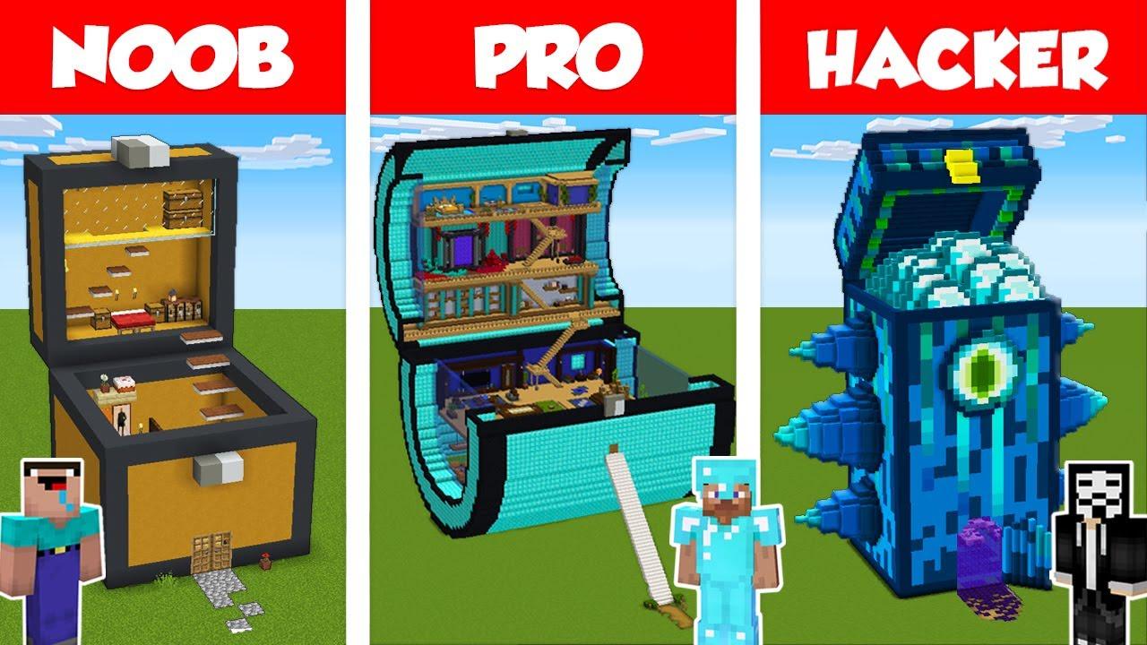 Minecraft NOOB vs PRO vs HACKER: CHEST HOUSE BUILD CHALLENGE in Minecraft / Animation