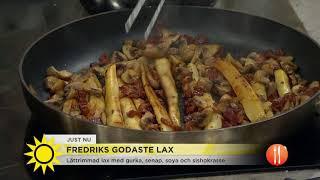 Krögaren Fredrik Eriksson bjuder på sin godaste lax och håller laxskola - Nyhetsmorgon (TV4)