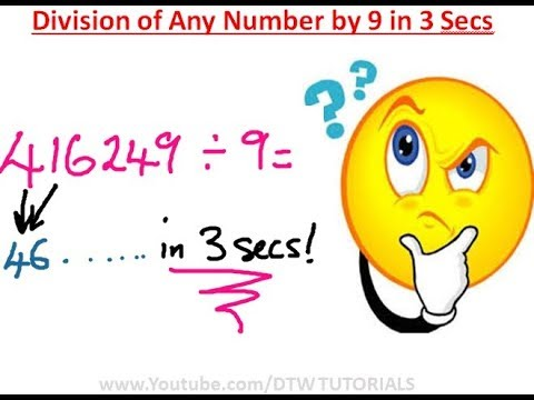 How to do Division of ANY Number By 9 in 3 Secs | Maths Trick