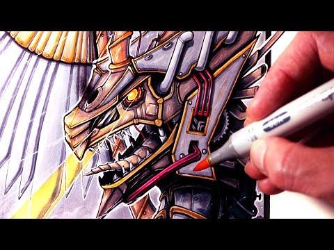 Let's Draw a STEAMPUNK DRAGON - FANTASY ART FRIDAY
