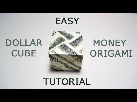 Money Modular CUBE Origami 3D Dollar Tutorial DIY Folded No glue and tape