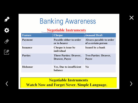 Differences Between Cheque & Demand Draft negotiable instrument :important for IBPS,SSC,UPSC Exams