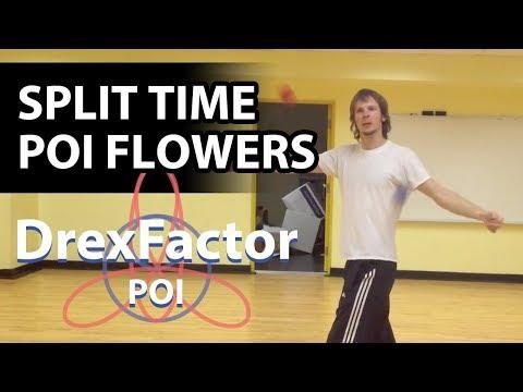 Basic Poi Dancing Tutorial: Flowers part 3 (Split-Time Flowers)