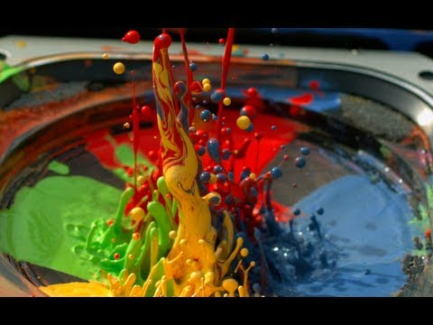 Paint on a Speaker at 2500fps - The Slow Mo Guys