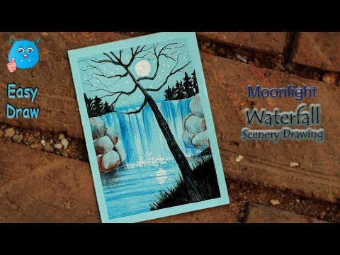 How To Draw Scenery Of Moonlight Waterfall Easy Drawing For