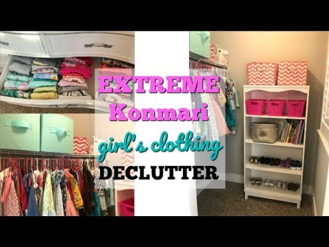 KONMARI METHOD CLOSET ORGANIZATION & DECLUTTER | GIRLS CLOSET DECLUTTER | DECLUTTER WITH ME