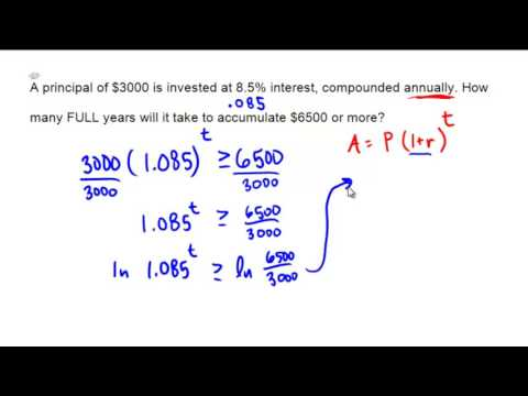 Using the annually compounded interest formula