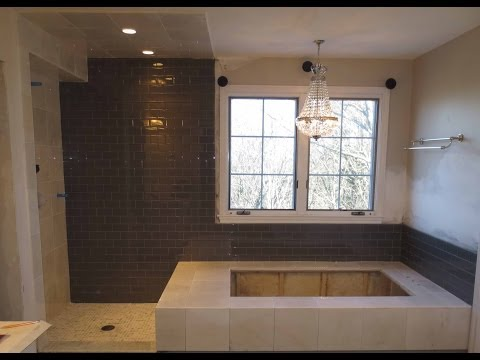 Marble tile and Glass tile bathroom time lapse