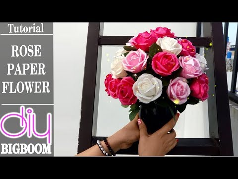 How To Make Rose Flowers With Paper And Arrangement Tutorial