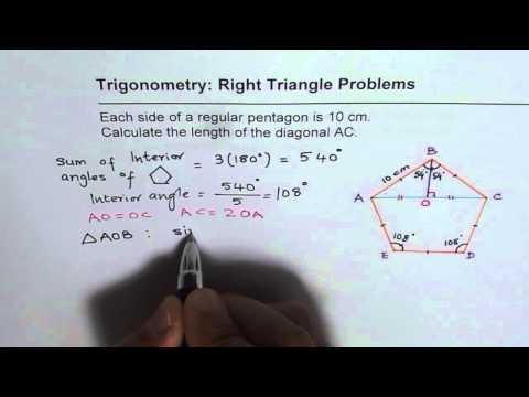 Find Diagonal Length of a Regular Pentagon