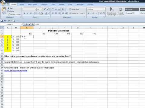 Microsoft Excel create a mixed reference - F4 key to change references by Chris Menard