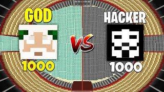 Minecraft Battle: NOOB vs PRO: 1000 GOD VS 1000 HACKER CHALLENGE / Animation