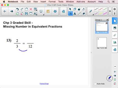 Missing Number in Equivalent Fractions