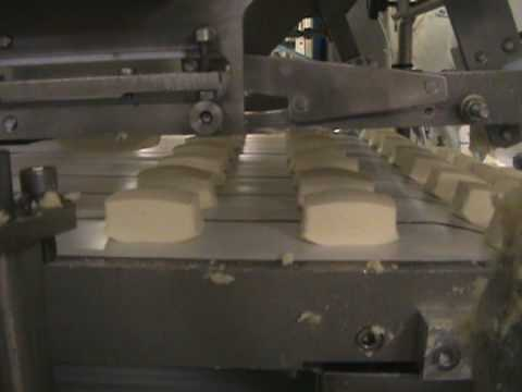 WWW.CREASWEET.COM / How It's Made?Russian Soft cheese bars.Wire cutting INTELLESTAMP