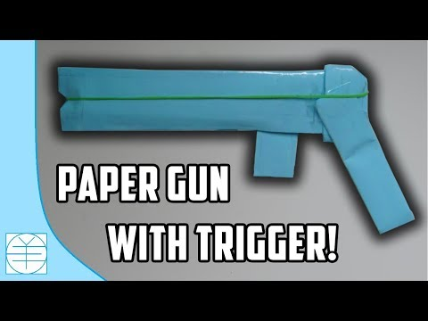 How To Make A Paper Gun That Shoots Rubber Bands (With Trigger). (SLOW TUTORIAL)