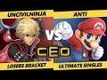 CEO 2019 SSBU - T1   ANTi (Mario, Lucario) Vs. UncivilNinja (Shulk) Smash Ultimate Tournament L T192