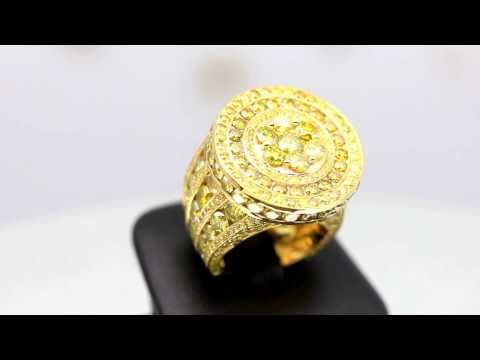 Mens 14K Solid Yellow Gold Yellow Diamond Pinky Ring 15.90 Ctw