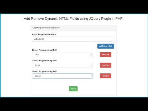 Add Remove Dynamic Input Fields using JQuery Plugin in PHP