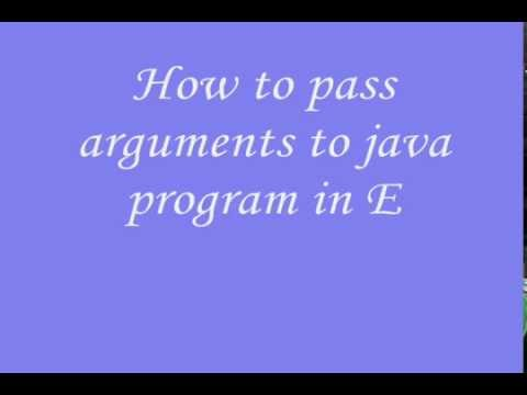 Pass arguments to java program using eclipse