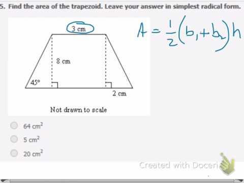 wk27 area of a trapezoid involving 45-45-90