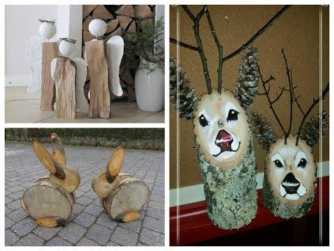 DIY Log Decor Ideas - Wooden Christmas Decorations