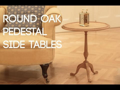 018 Round Oak Pedestal Side Tables - Ash Burl Veneer and Ebony Inlay