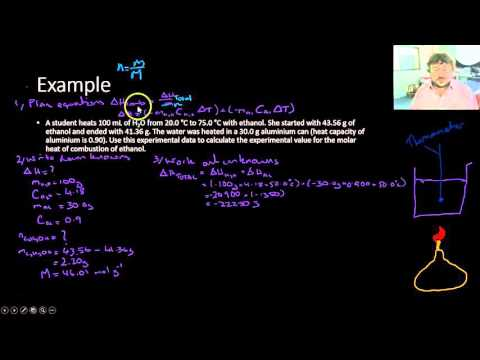 Molar Heat of Combustion Calculations Worked Example