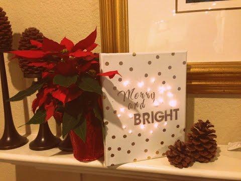 DIY Christmas Decor Craft - Lighted Canvas