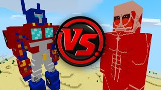 TRANSFORMERS vs COLOSSAL TITAN! (Minecraft Pocket Edition Addon/MOD)