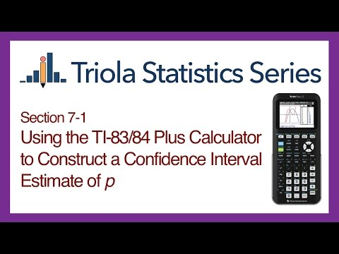 TI 83/84 Section 7-1: Using the TI-83/84 to Construct a Conf. Interval Estimate of Pop. Proportion