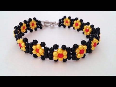 Make simple beaded flower bracelet. Bracelet design idea