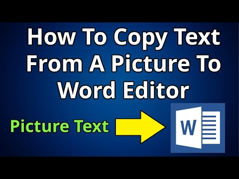 How To Copy Text From A Picture To Word Editor