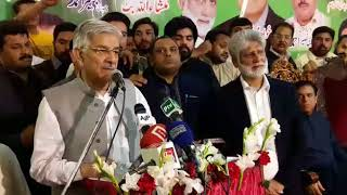 PMLN angry worker threw ink on  Foreign Minister Khawaja Asif  face at Sialkot.